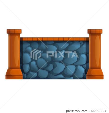 Big stone fence icon, cartoon style 66389904
