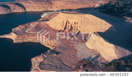 The Great Temple of Rameses II in ABU SIMBEL from Above, EGYPT 66391207