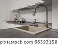 Closeup of minimalistic white kitchen furniture 66393158