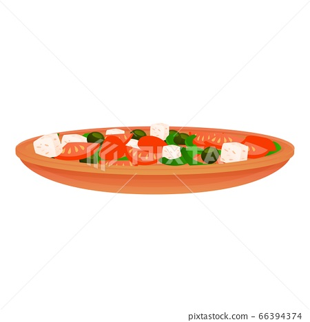 Greek salad icon, cartoon style 66394374
