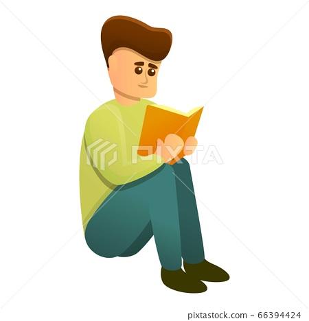 Boy preparing for test icon, cartoon style 66394424