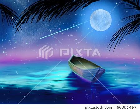 獨木舟漂浮在夜空與星星,月亮和大海 66395497