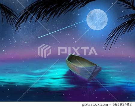 獨木舟漂浮在夜空與星星,月亮和大海 66395498