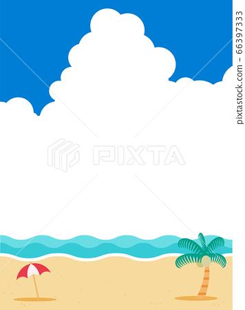 여름 바다 배경 소재 뭉게 구름 66397333
