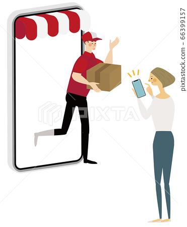 通過郵購,智能手機購買的女性 66399157