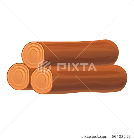 Wood roll stack icon, cartoon style 66402215