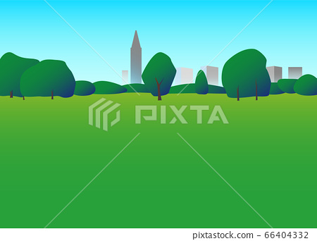 Illustration of park trees and grass square 66404332