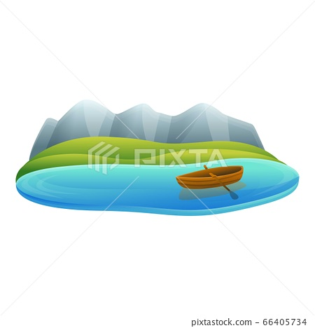 Lake wood boat icon, cartoon style 66405734