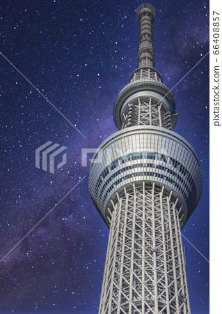 東京晴空塔和銀河星空組合 66408857