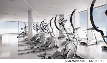 empty white gym interior with exercise equipment 66409047