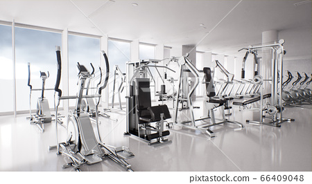 modern gym interior with exercise equipment 66409048