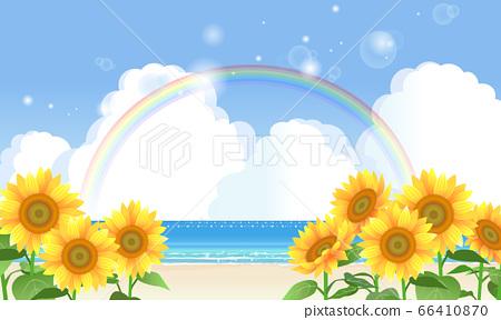 大海與向日葵和彩虹的插圖 66410870