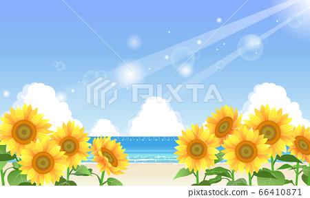 여름 바다와 해바라기의 일러스트 66410871