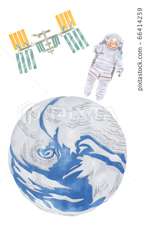 Watercolor illustration of astronaut, earth and ISS 66414259
