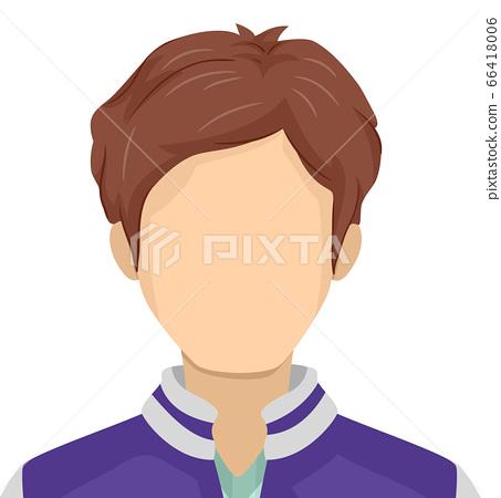 Teen Boy Blank Face Illustration 66418006