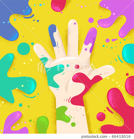 Hand Right Splat Colors Illustration 66418016
