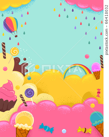 Sweets Ice Cream Candies Colors Background 66418032
