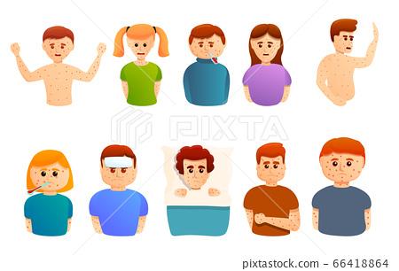Chicken pox icons set, cartoon style 66418864