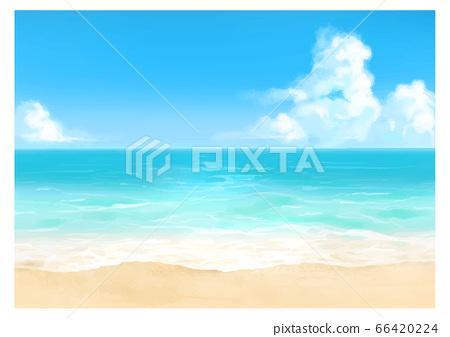 [白天]水彩風格的海灘和海洋背景圖 66420224