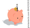People Characters Standing on piggy bank with coin 66420263
