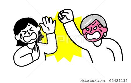 毆打她的高級婦女和穿著暴力的婦女(簡單) 66421135