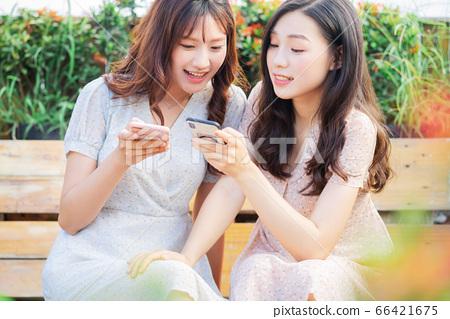 Woman, chatting, lifestyle 66421675