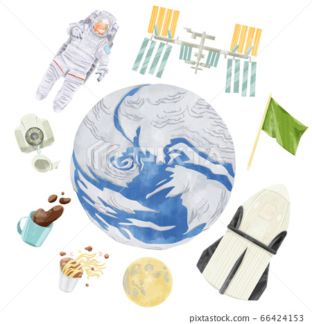 漂浮在地球上的宇航員和火箭 66424153