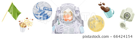 地球和宇航員在失重空間中漂移 66424154