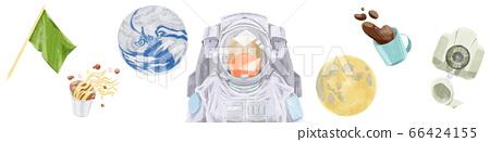 地球和宇航員在失重空間中漂移 66424155