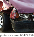Damaged car after the accident 66427356