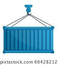 Cargo container crane icon, cartoon style 66428212