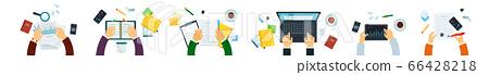 Panorama organization teamwork vector illustration in flat style. 66428218