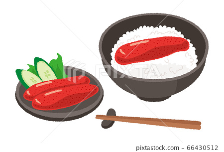 Illustration of mentaiko and mentaiko rice 66430512