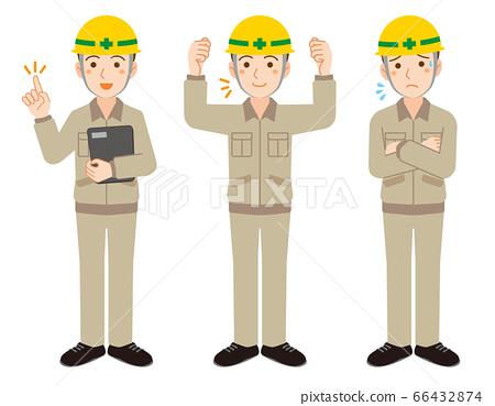 헬멧을 입은 남성 근로자의 포즈 일러스트 세트 / 흰색 배경 66432874