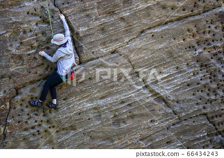 카나가와 현 즈시시와 요코스카시에 걸쳐 鷹取山에서 암벽 등반을 할 여성 등산 66434243