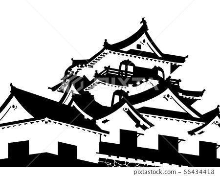 彥根城城堡塔黑色和白色剪影 66434418