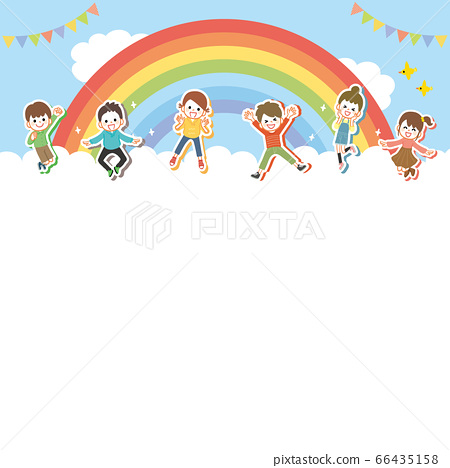 건강하게 점프하는 아이들의 배경 66435158