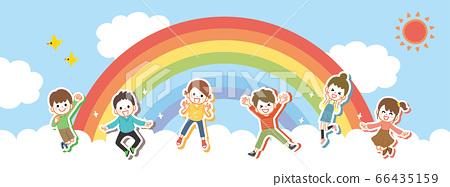 구름에서 건강하게 점프하는 아이들 66435159
