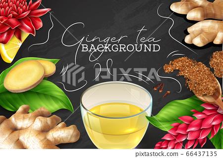 Ginger Tea Chalkboard Background  66437135