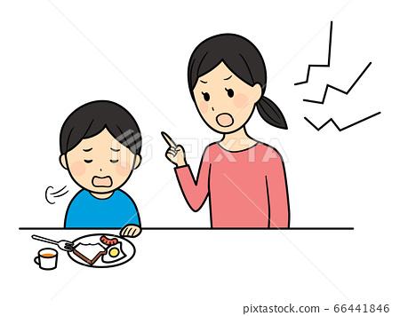 아침을 먹지 않는 남자와 엄마 66441846