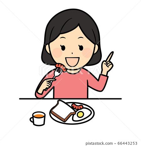 아침을 먹고 여자 66443253