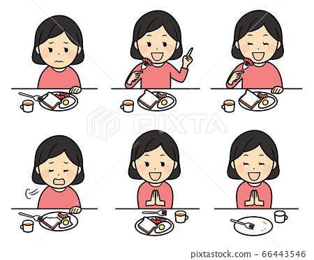 아침을 먹고 여자 66443546