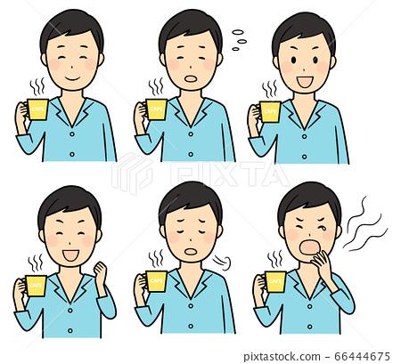 아침에 잠옷 바람으로 커피를 마시는 남성 66444675