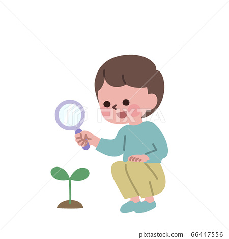 Boy observing buds with a magnifying glass 66447556