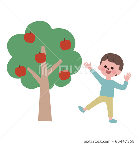 一個高興地看到蘋果樹的男孩 66447559