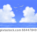 Seagulls fly, blue sky with mocking clouds and the sea, landscape 66447849
