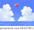 Red heart-shaped balloons fly, blue sky with mocking clouds and the sea, landscape 66447851