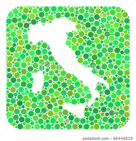 Map of Italy - Dotted Collage with Hole 66448819