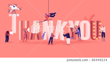 Thanks Concept. Male and Female Characters Set Up, Painting and Decorate Huge Word Thank You Made of Red Bricks 66449224