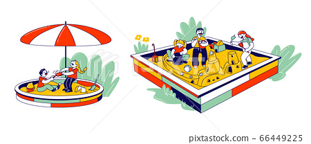 Boys and Girls Playing in Sandbox in Amusement Recreation Park or House Yard Place for Children Games 66449225